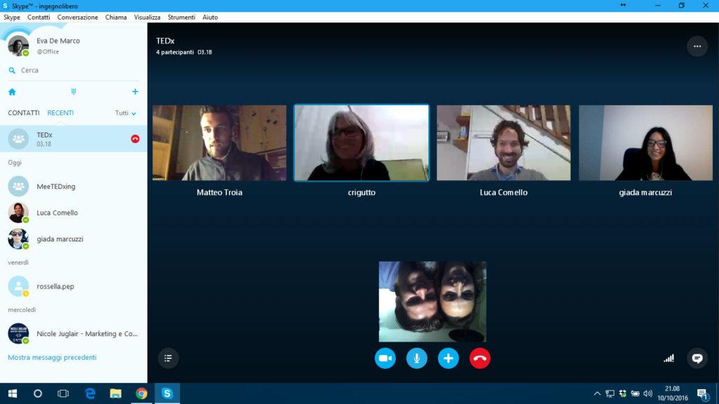 10/10/16 Riunione del team, tutti su Skype!